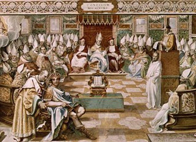 Au Concile de Nicée, le clergé donne à Constantin les pleins pouvoirs
