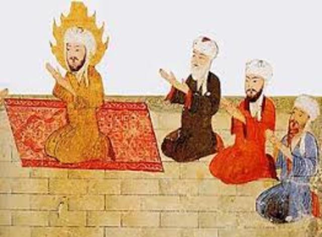 Hégire (exode), Mahomet quitte la ville polythéiste de La Mecque pour Médine et y fonde la première communauté adhérente à l'Islam (soumission à Dieu).