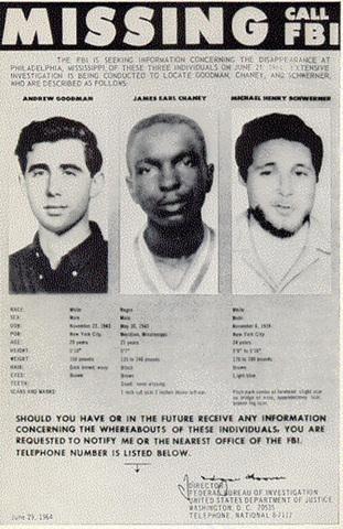 Exemple de la crise sociale des Etats-Unis dans les années 60: meurtres de Chaney, Goodman, and Schwerner