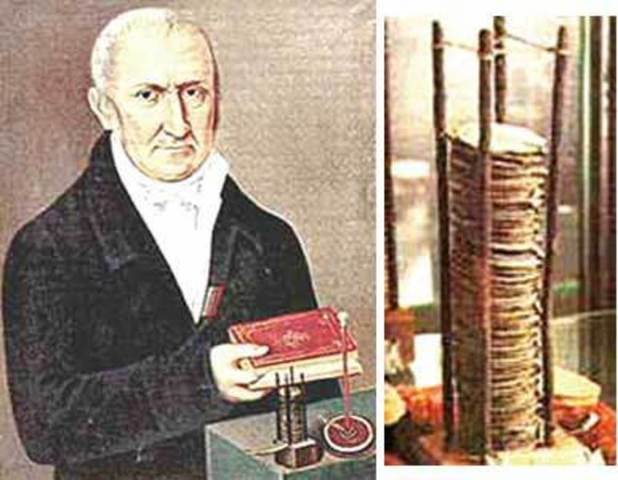 Volta inventa la pila eléctrica.