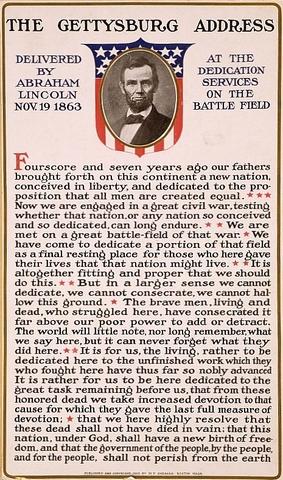 Abraham delivers the Gettysburg address