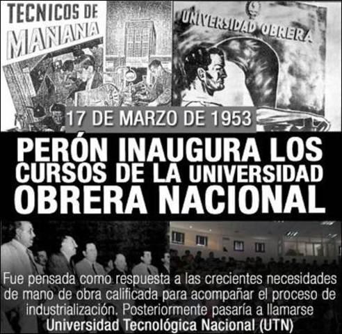 Comienzan los cursos de la Universidad Obrera Nacional por Peron