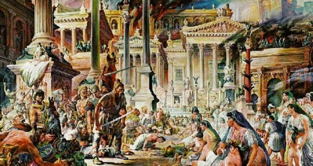 Alaric, roi des Goths et général de l'Empire romain d'Orient, organise le siège de Rome et en dirige le pillage