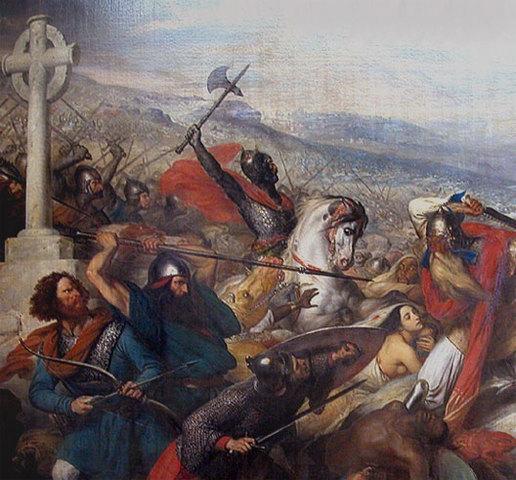 Le chef des Francs, Charles Martel, arrête une armée arabe au nord de Poitiers. Les vaincus se retirent. C'en est fini des incursions musulmanes au nord des Pyrénées.