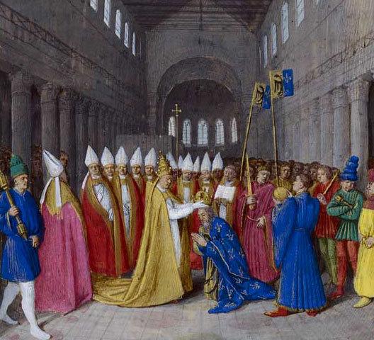 Le couronnement de Charlemagne (petit-fils de Charles Martel) comme empereur romain d'Occident était le résultat d'une alliance conclue longtemps auparavant entre ses ancêtres les Carolingiens et la papauté.