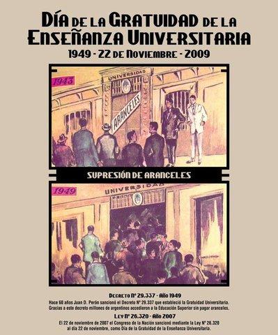 Perón estableció la gratuidad de la enseñanza universitaria y terciaria