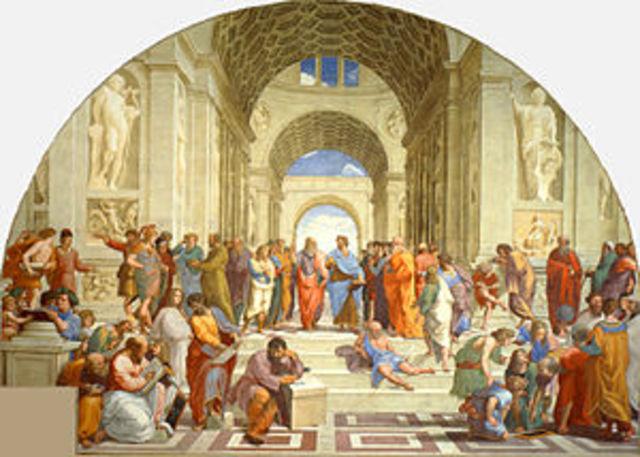 """Rafael pinta el fresco """"La escuela de Atenas"""""""