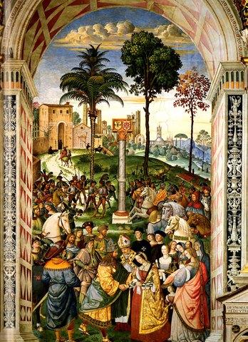 Eneas Silvio, obispo de Siena, presenta a Leonor de Portugal al emperador Federico III