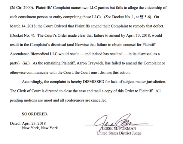 Lawsuit against Josiah Zayner & Gizmodo Dismissed