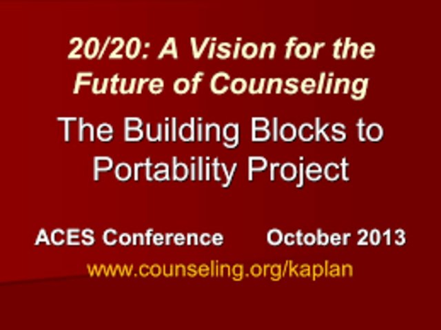 The 20/20: A vision for the Future of Counseling Comittee