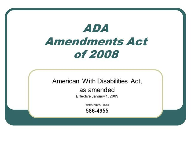 Americans with Disabilities Act Amendments of 2008