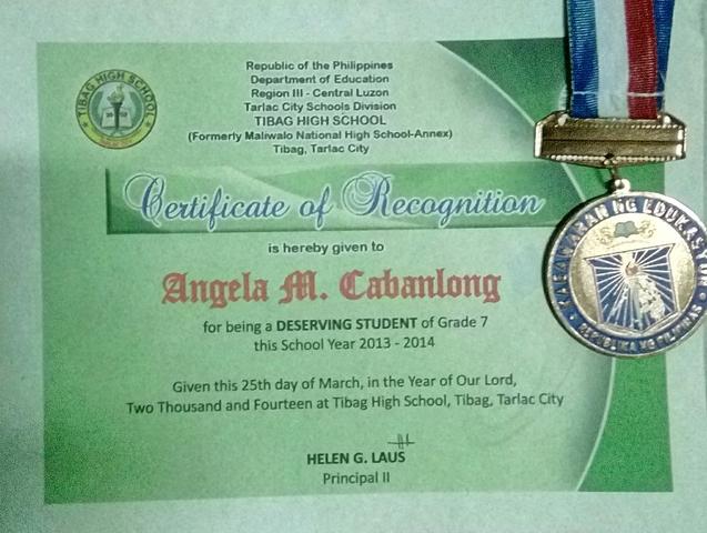 Grade 7 Deserving Student