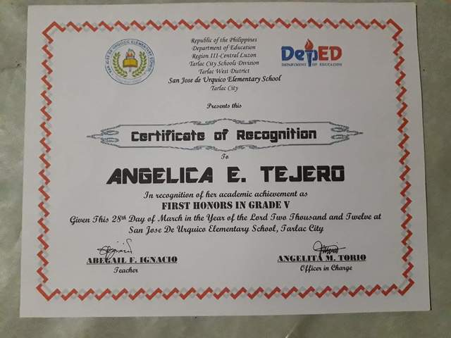 My Grade 5 Recognition
