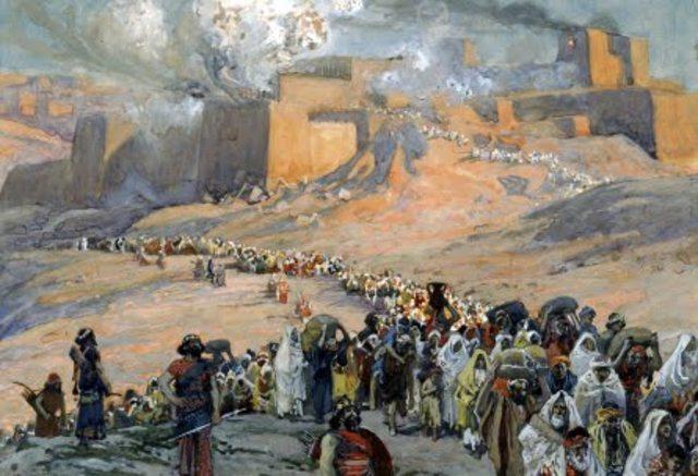 Judea es conquistada por Babilonia. Jerusalem y el Primer Templo son destruidos, la mayoría de los judíos son exiliados a Babilonia.