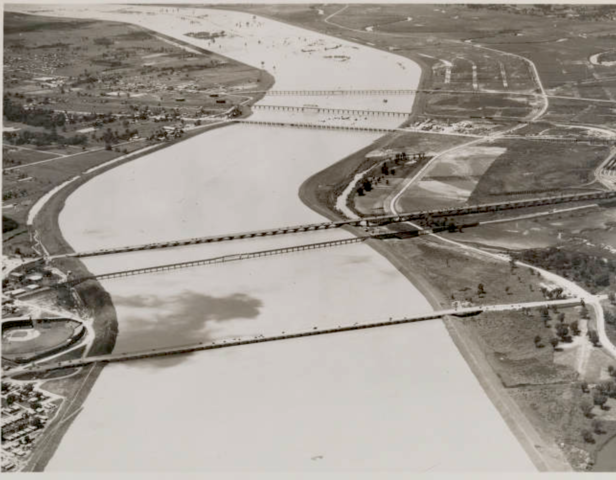 First Trinity River levees built
