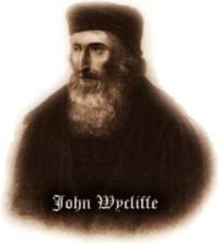 John Wycliffe writes Civil Dominion, Lollardy Movement