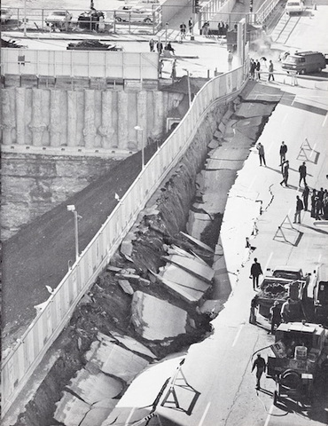 Elm Street caves in during construction