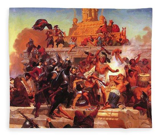 Battle between Cortes and Aztecs