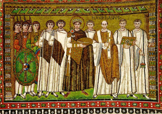 Emperor Justinian and His Attendants, Byzantine, c. 547 CE