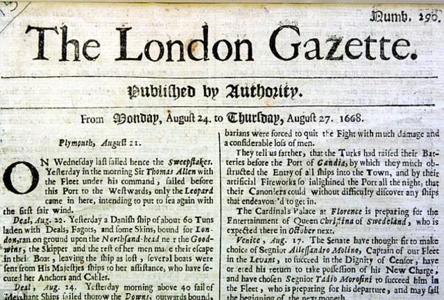 Newspaper - The London Gazette