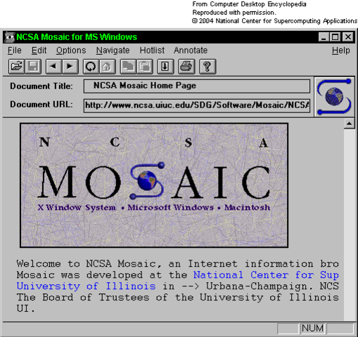 Mosaic was released: the first commercial software that allowed graphical access to content on the internet - the first internet web browser