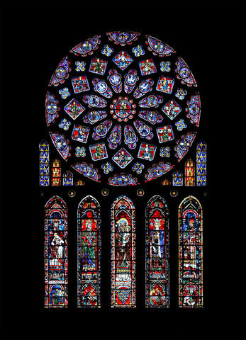 Rose window and lancets, Gothic, c. 1230–1235 CE