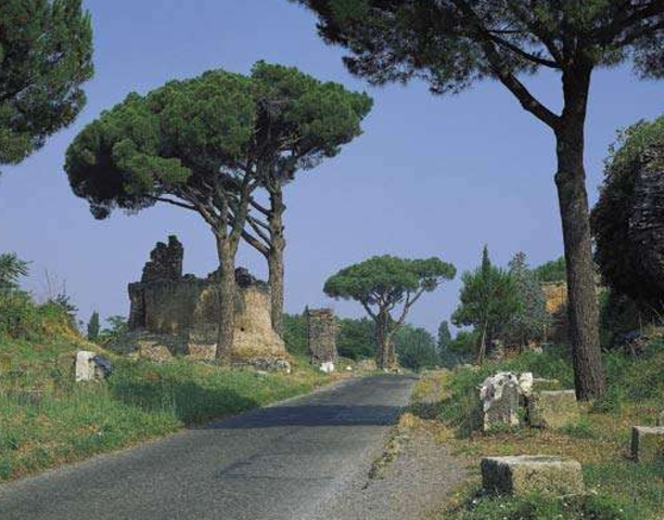 The Via Appia, a famous Roman road, is constructed