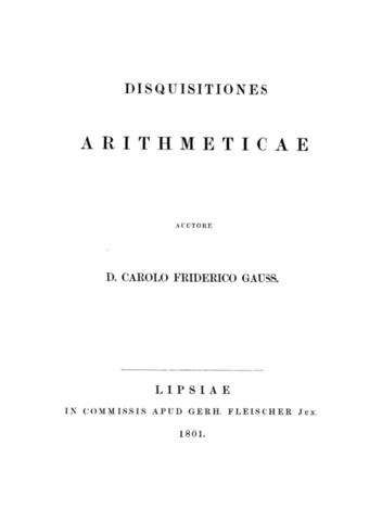 """""""Disquisitiones arithmeticae"""" de Gauss"""