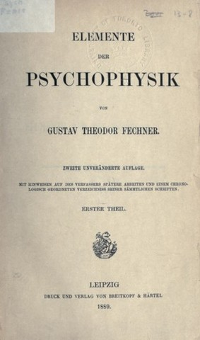 """""""Elementos de la psicofísica"""" de Fechner"""