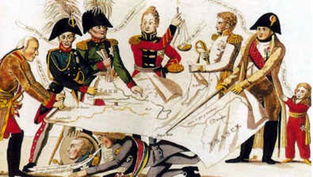 El congreso de Viena está en manos de los estados que derrotaron a Napoleón.