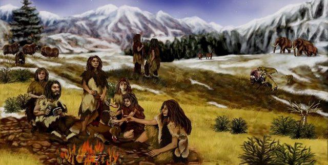 Tras mas de 180 mil años gracias a un clima mas clemente el hombre establece  tribus no va a depender  mas de la caza para sobrevivir y de las grandes migraciones que hacia para  ir tras la comida.
