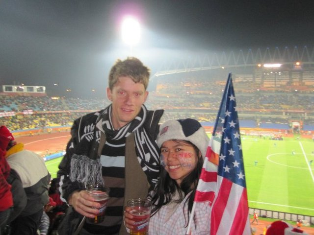 Sam and Susie at a World Cup match in Rustenberg South Africca