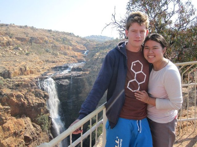 Photo of Sam and Susie hiking in Rustenberg South Africa