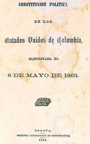 CONSTITUCIÓN POLÍTICA PARA LOS ESTADOS UNIDOS DE COLOMBIA