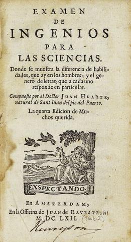 """J. Huarte publica """"Examenes de Ingenios"""""""