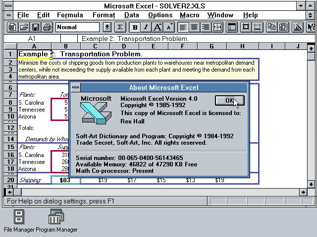 Microsoft EXCEL 4.0