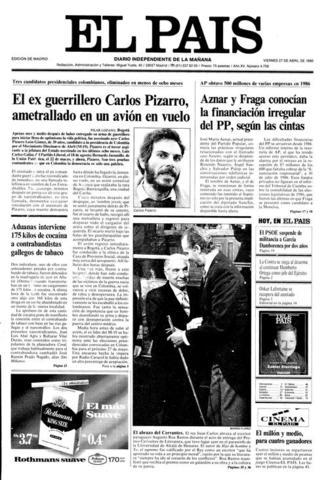 El máximo líder y candidato presidencial del M-19, Carlos Pizarro Leongómez, de 38 años, fue asesinado