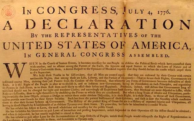 La Declaración de Independencia de los E.E.U.U.