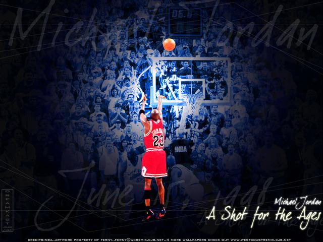 Michael Jordan gets the championship trophy !