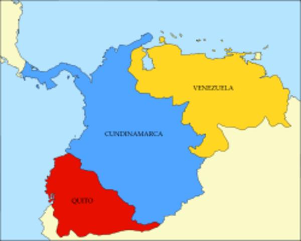 La Gran Colombia se dividió en tres naciones independientes