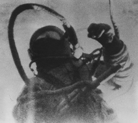 Alexei Leonov, USSR, performs the first spacewalk.