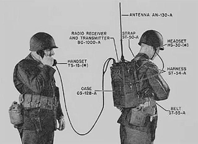 El transceptor de radio SCR-300 de Motorola.
