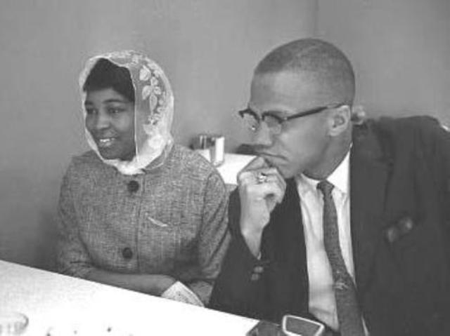 Malcolm X marries Betty Sanders.