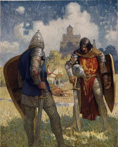 Sir Lancelot meets Sir Galahad and bids him farewell forever