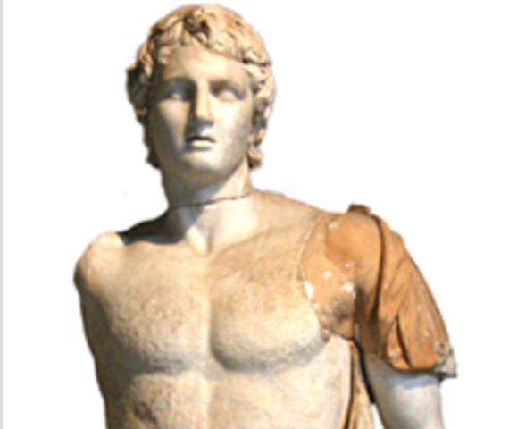 Alexander (den Store) overtager tronen efter sin far, Philip af Makedonien