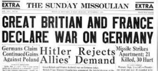 Storbritannia og Frankrike erklærer krig mot Tyskland