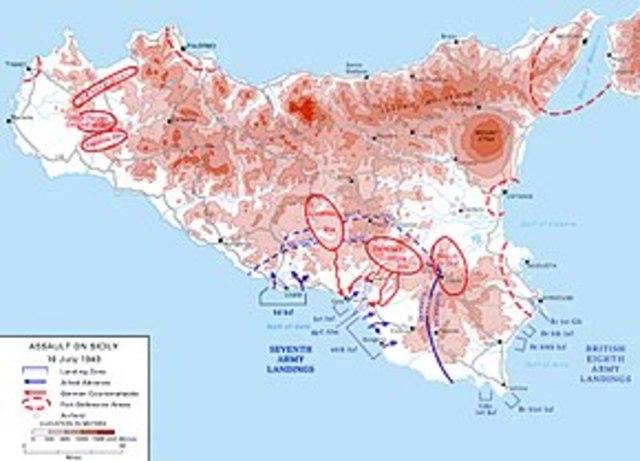 De allierte inntar Sicilia