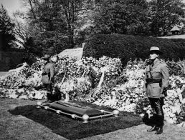 Roosevelt is buried in the Rose Garden of his home at Hyde Park, New York