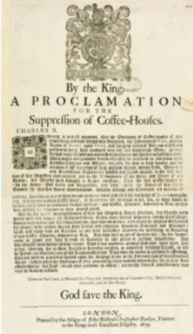 Proclamation for the Suppression of Coffeehouses