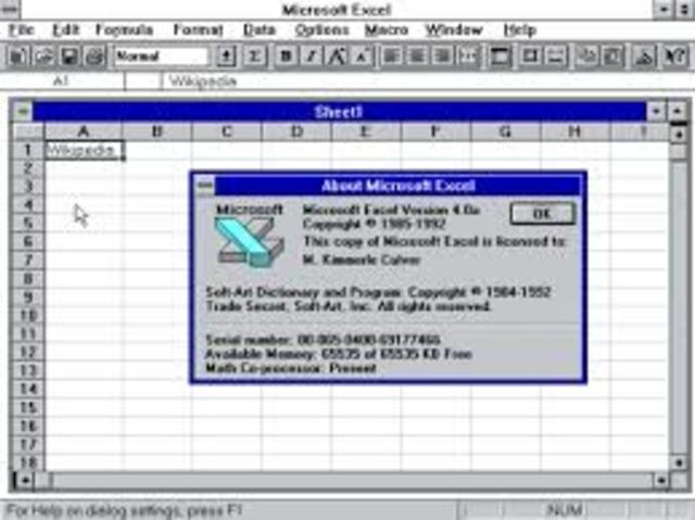 Microsoft Excel 4.0 (1992)
